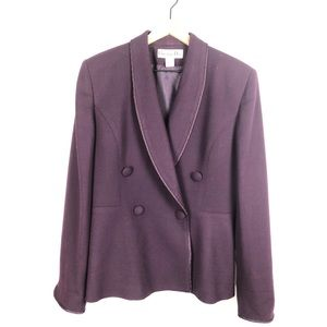 Dior Purple 100% Wool Fitted Suit Vintage- Size 12